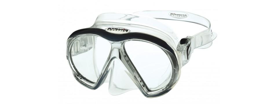 Schlichte Atomic Aquatics SubFrame Black/Clear Taucherbrille mit Sehstärke
