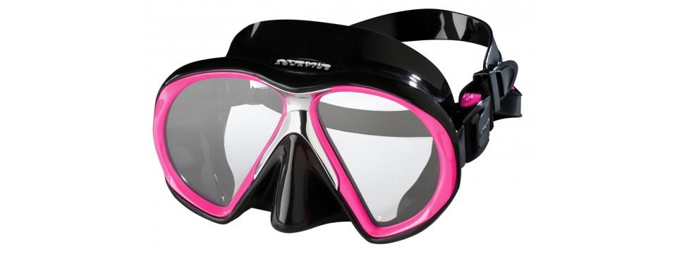 Farbige Atomic Aquatics SubFrame Pink/Black Taucherbrille mit Sehstärken