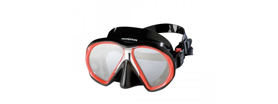 Rot/Schwarze Atomic Aquatics SubFrame Red/Black Taucherbrille mit Sehstärke